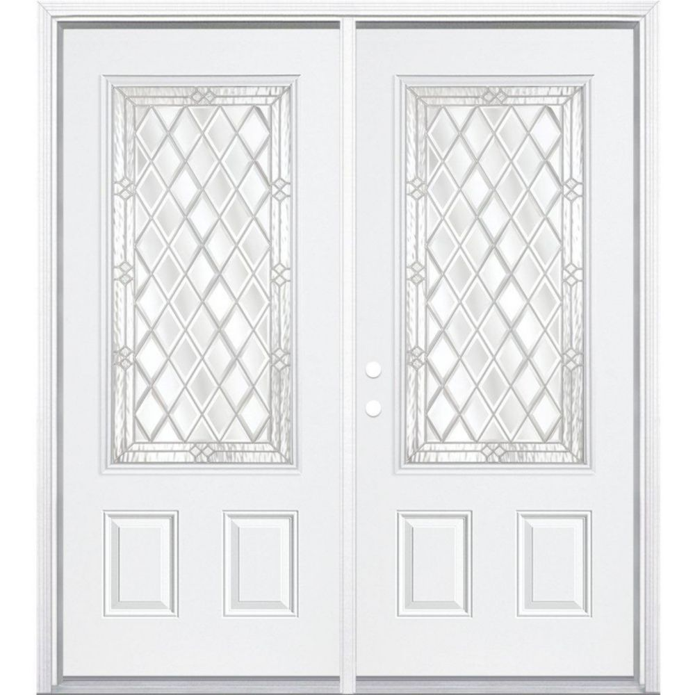 72-inch x 80-inch x 6 9/16-inch Nickel 3/4-Lite Right Hand Entry Door with Brickmould
