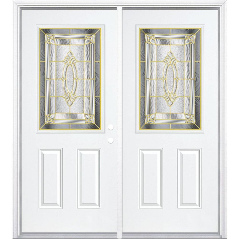 64-inch x 80-inch x 6 9/16-inch Brass 1/2-Lite Left Hand Entry Door with Brickmould