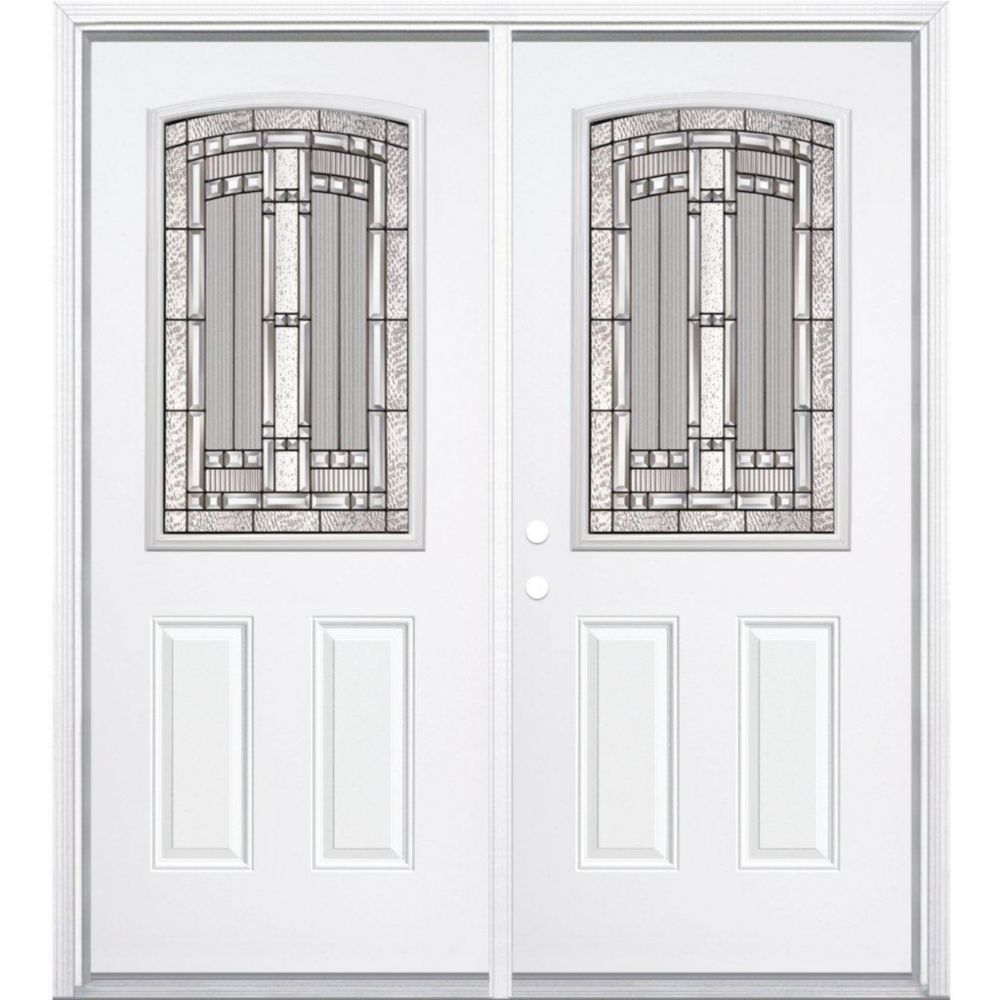 64-inch x 80-inch x 4 9/16-inch Antique Black Camber 1/2-Lite Right Hand Entry Door with Brickmou...