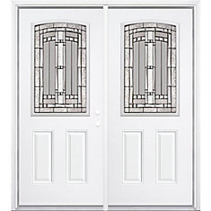 68-inch x 80-inch x 4 9/16-inch Antique Black Camber 1/2-Lite Left Hand Entry Door with Brickmould - ENERGY STAR®