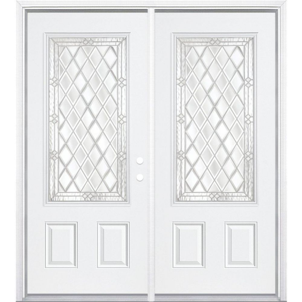 64-inch x 80-inch x 4 9/16-inch Nickel 3/4-Lite Left Hand Entry Door with Brickmould