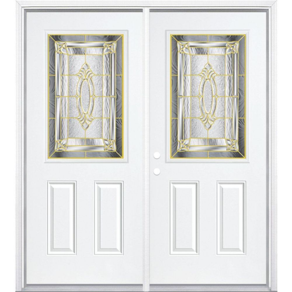 64-inch x 80-inch x 6 9/16-inch Brass 1/2-Lite Right Hand Entry Door with Brickmould