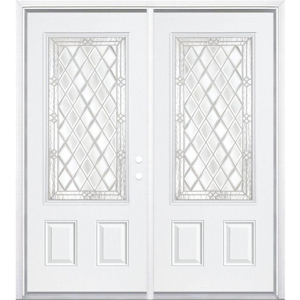 64-inch x 80-inch x 6 9/16-inch Nickel 3/4-Lite Left Hand Entry Door with Brickmould