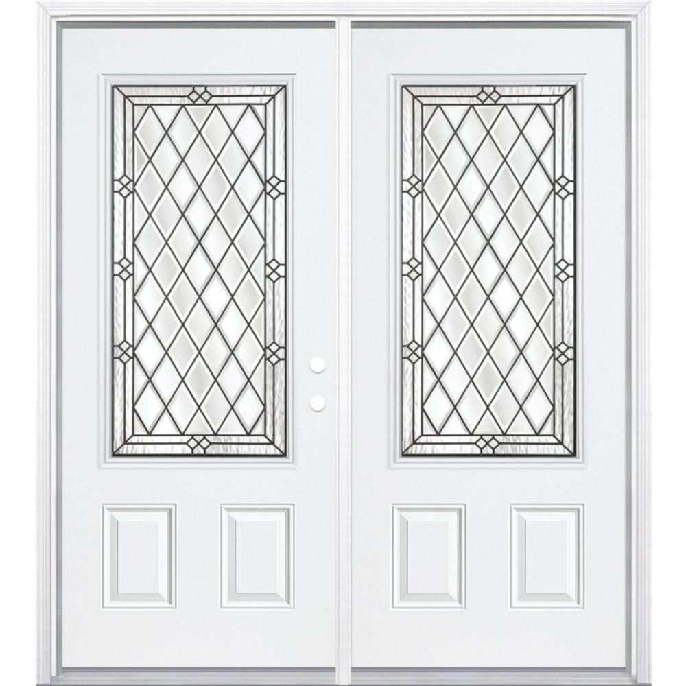 """72""""x80""""x 4 9/16"""" Halifax noir antique ver. 3/4 porte d'entrée moulure à brique m. gauche"""