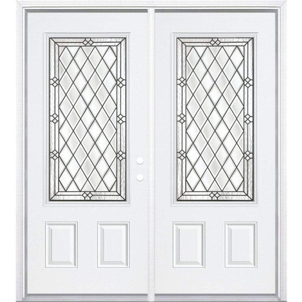 72-inch x 80-inch x 6 9/16-inch Antique Black 3/4-Lite Left Hand Entry Door with Brickmould