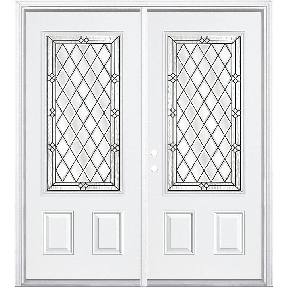 68-inch x 80-inch x 6 9/16-inch Antique Black 3/4-Lite Right Hand Entry Door with Brickmould - ENERGY STAR®