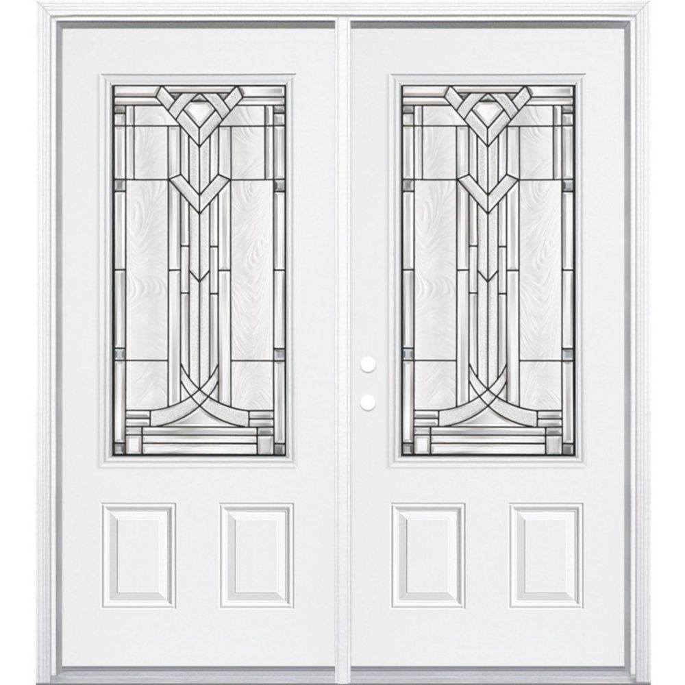 64-inch x 80-inch x 6 9/16-inch Antique Black 3/4-Lite Right Hand Entry Door with Brickmould
