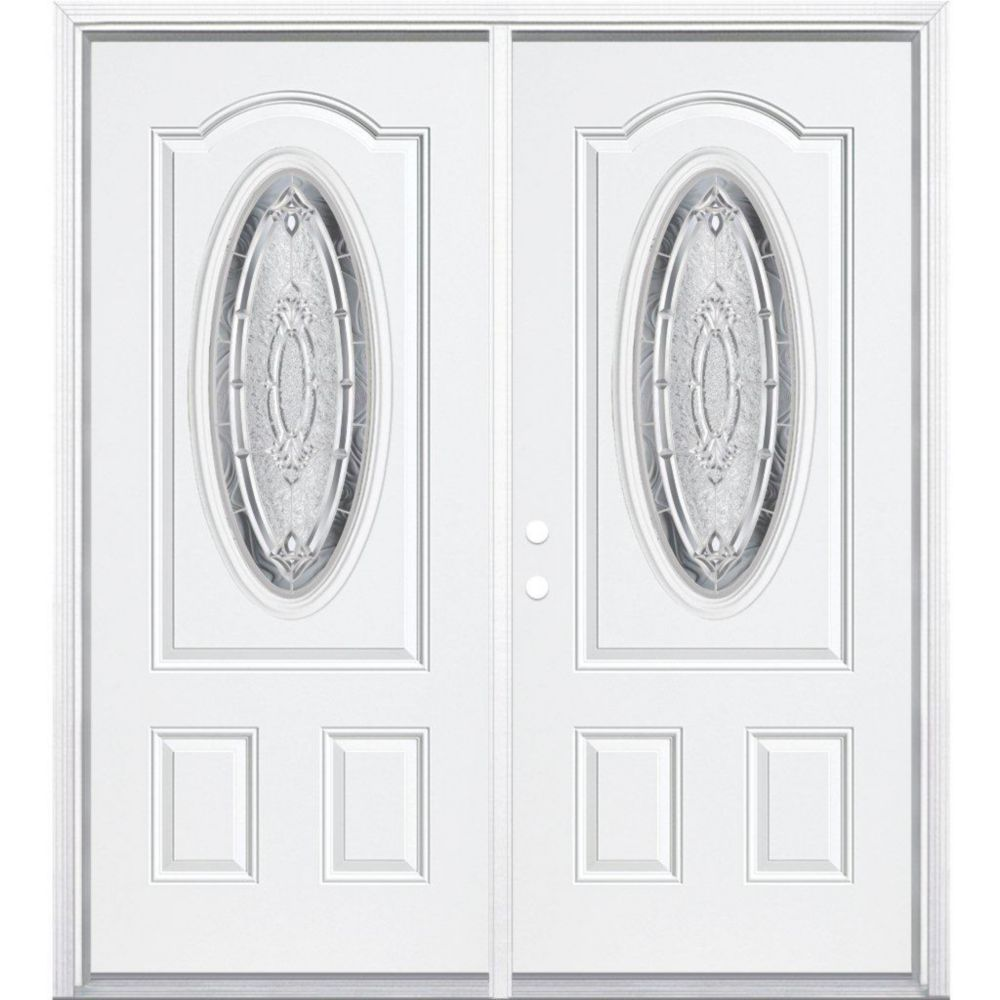 64-inch x 80-inch x 4 9/16-inch Nickel 3/4 Oval Lite Right Hand Entry Door with Brickmould