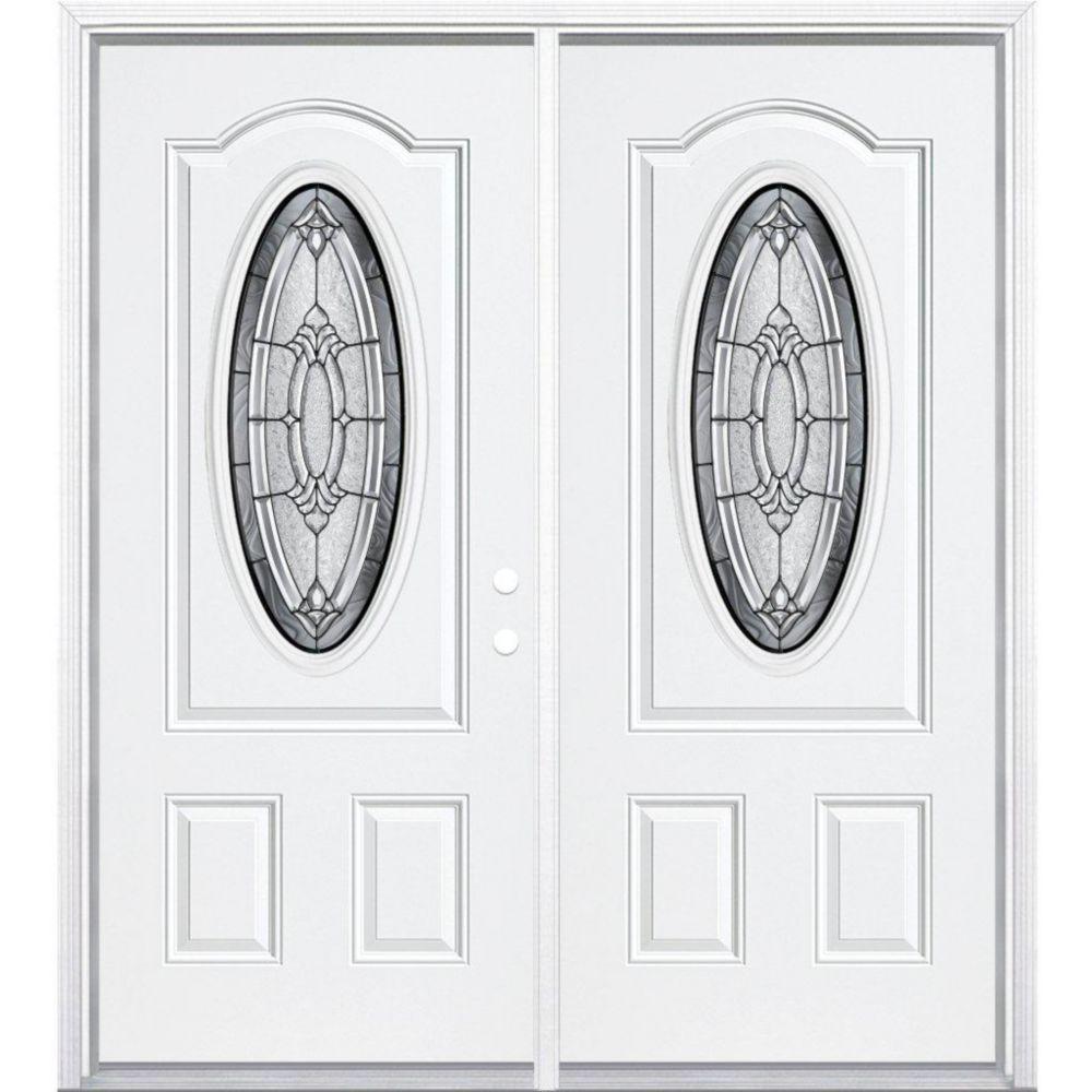 """64""""x80""""x6 9/16"""" Providence noir antique ver. 3/4 ovale d'entrée moulure à brique m. gauche"""