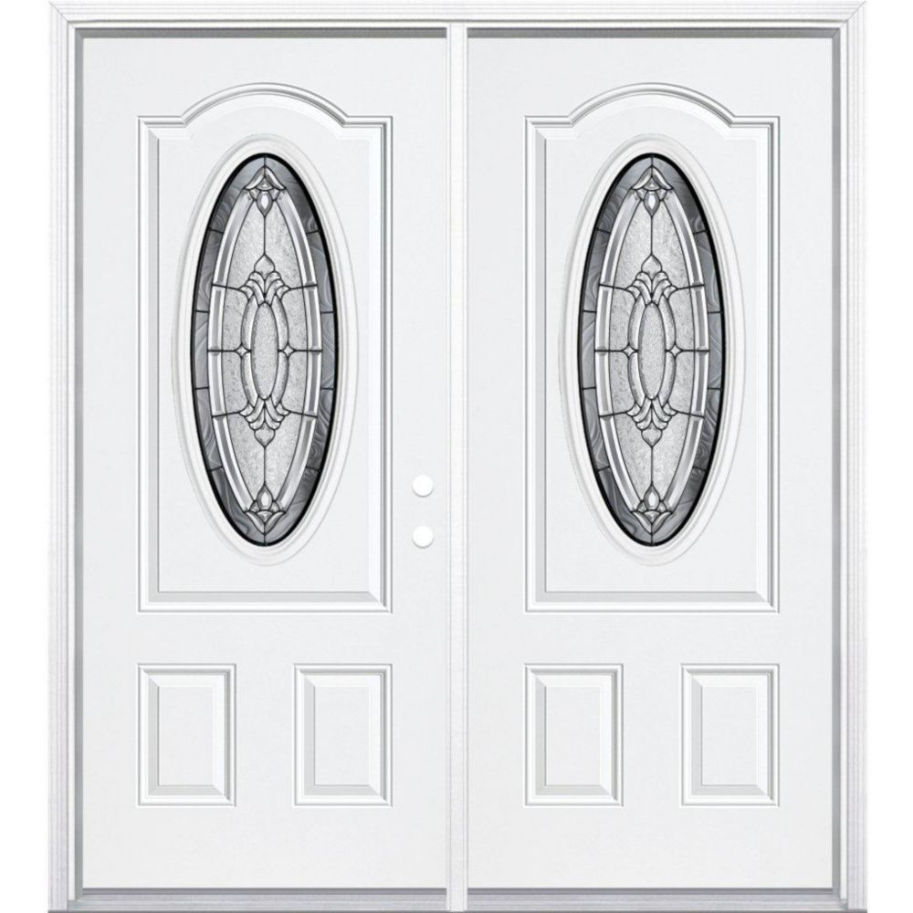 64-inch x 80-inch x 6 9/16-inch Antique Black 3/4 Oval Lite Left Hand Entry Door with Brickmould