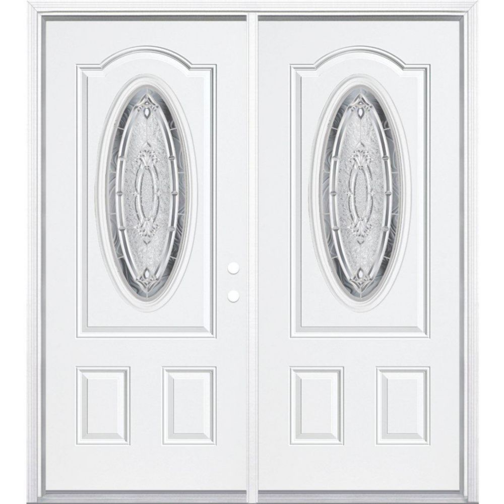 64-inch x 80-inch x 6 9/16-inch Nickel 3/4 Oval Lite Left Hand Entry Door with Brickmould