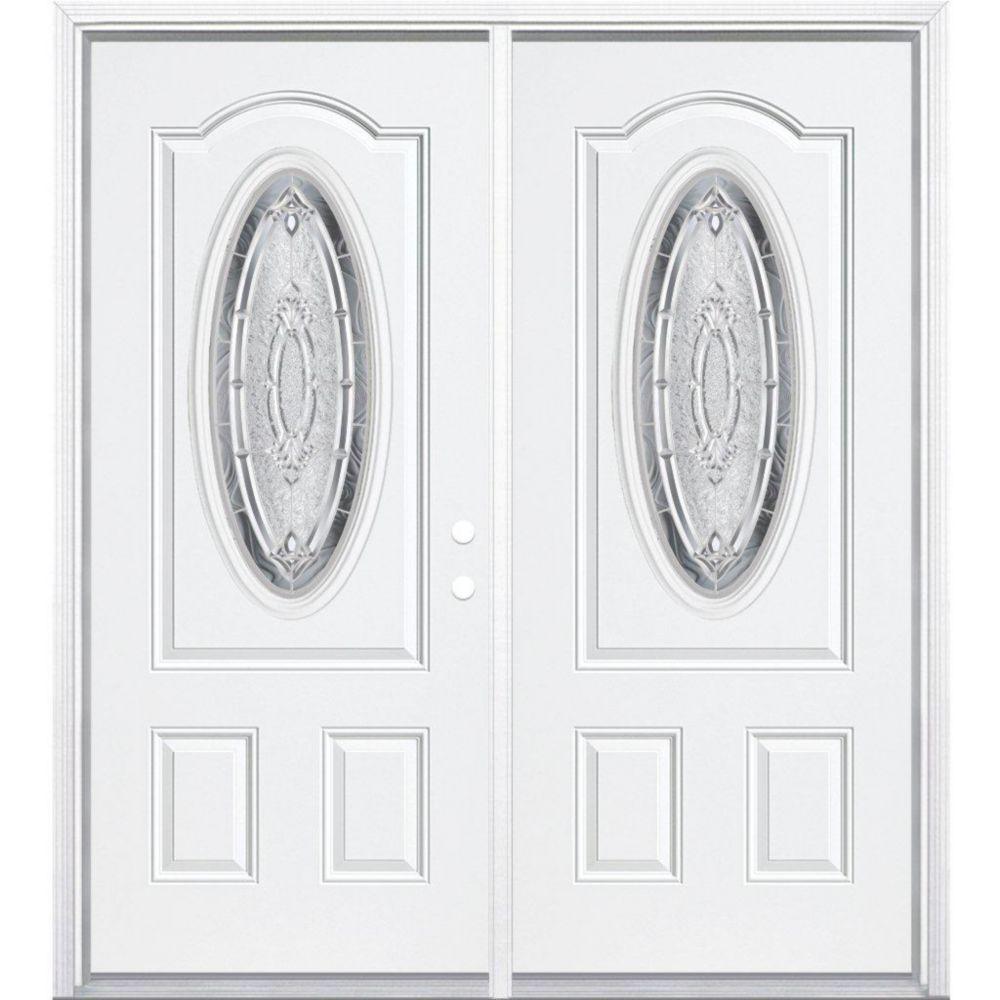 64-inch x 80-inch x 6 9/16-inch Nickel 3/4 Oval Lite Left Hand Entry Door with Brickmould