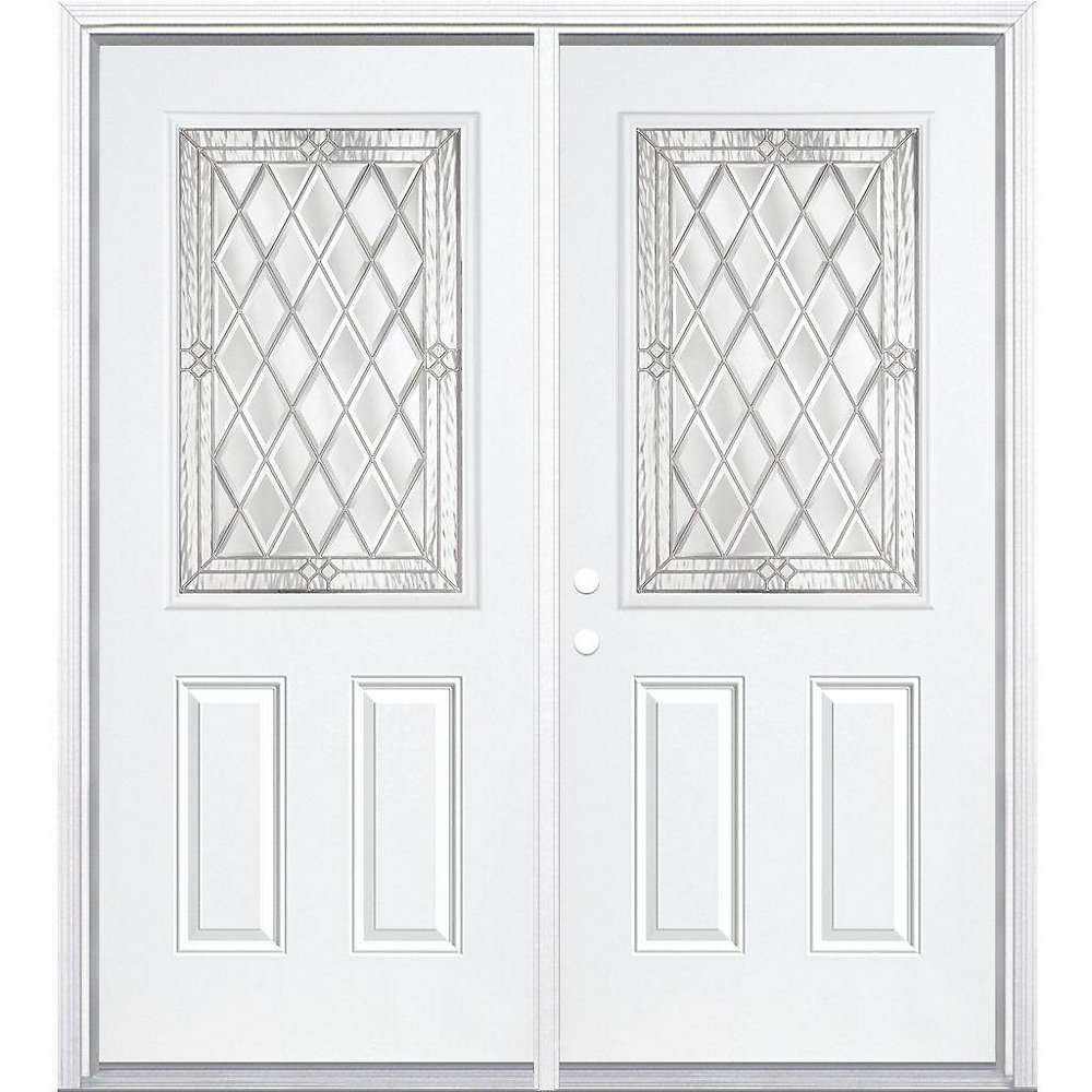 Mobile Home Replacement Doors Exterior: 68-inch X 80-inch X 4 9/16-inch Nickel 1/2-Lite Right Hand