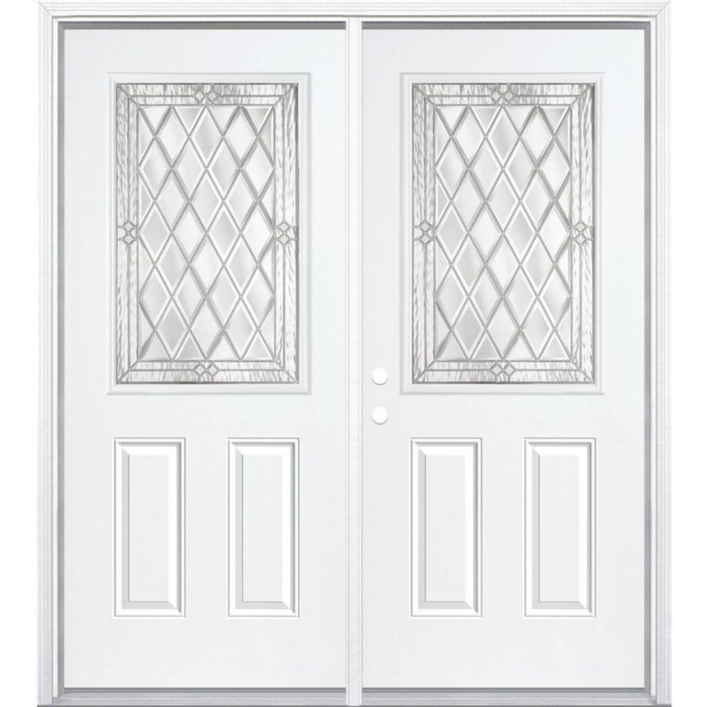 68-inch x 80-inch x 4 9/16-inch Nickel 1/2-Lite Right Hand Entry Door with Brickmould