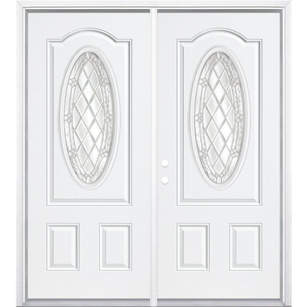 Masonite 72 Inch X 80 Inch X 6 9 16 Inch Nickel 3 4 Oval Lite Right Hand Entry Door With