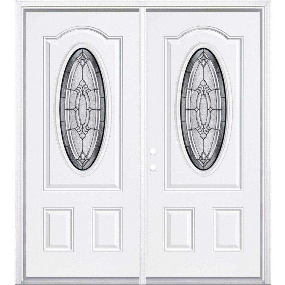 """72""""x80""""x4 9/16"""" Providence noir antique ver. 3/4 ovale d'entrée moulure à brique m. droite"""