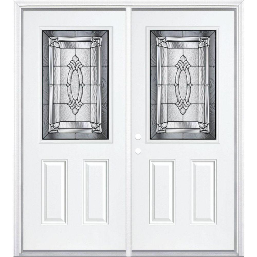 """64""""x80""""x4 9/16 Providence noir antique demi verre porte d'entrée moulure à brique m. gauche"""