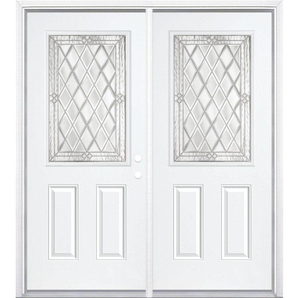 """72""""x80""""x6 9/16"""" Halifax nickel demi verre porte d'entrée moulure à brique m. gauche"""