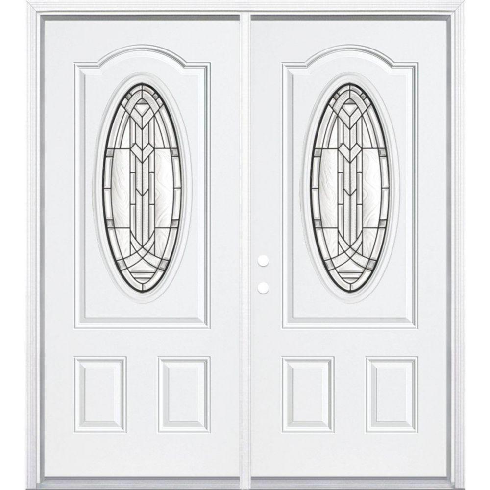 """68""""x80""""x4 9/16"""" Chatham noir antique ver. 3/4 oval porte d'entrée moulure à brique m. droite"""