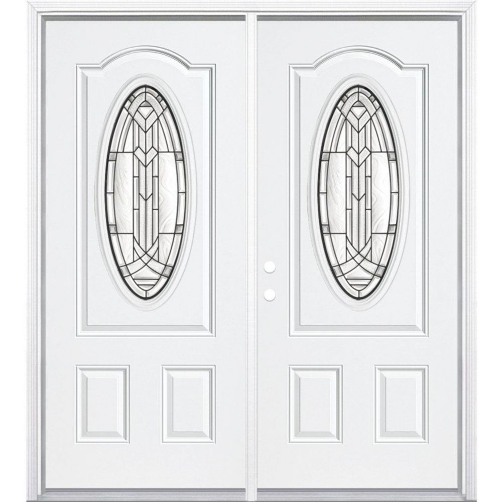 72-inch x 80-inch x 4 9/16-inch Antique Black 3/4 Oval Lite Right Hand Entry Door with Brickmould