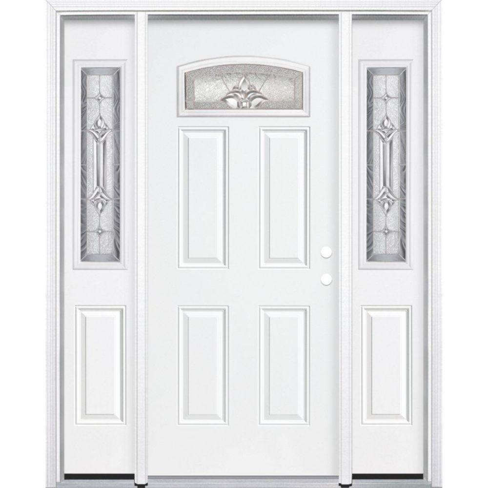 69-inch x 80-inch x 6 9/16-inch Nickel Camber Fan Lite Left Hand Entry Door with Brickmould