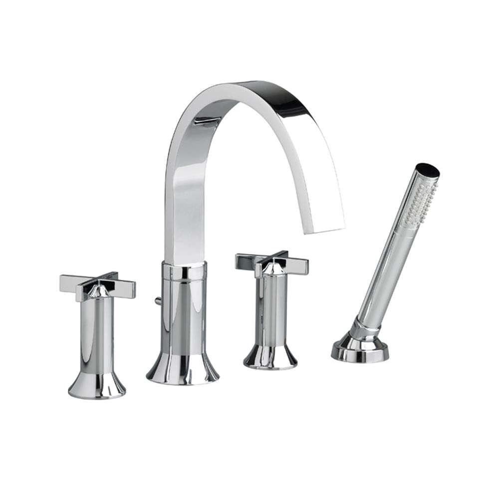 Berwick Cross 2-Handle Deck-Mount Roman Bath Faucet with Hand Shower in Polished Chrome