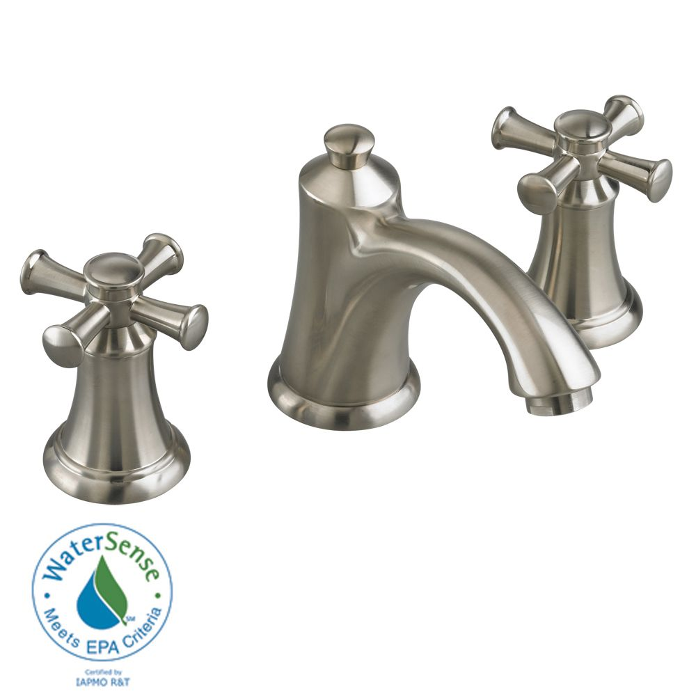 Portsmouth 8-inch 2-Handle Faucet with Speed Connect Drain and Cross Handles in Satin Nickel