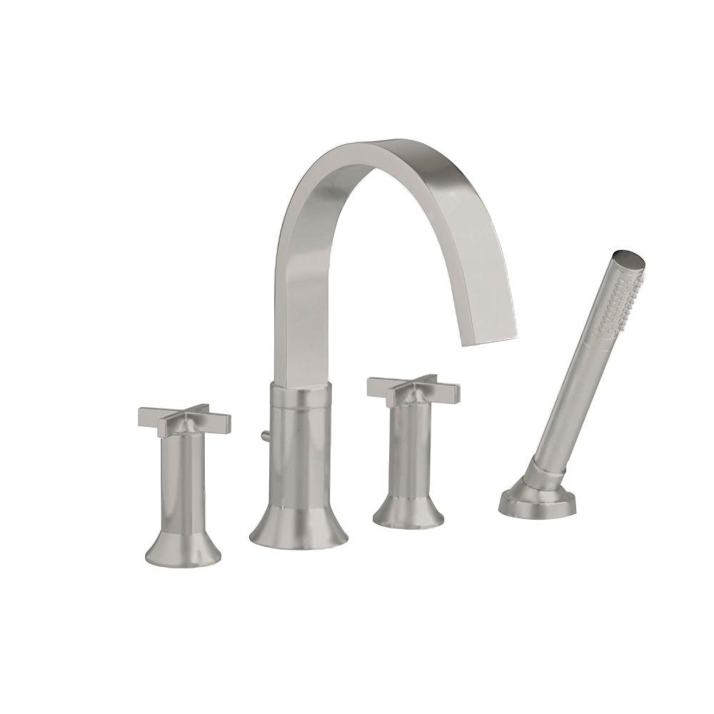 Berwick Cross 2-Handle Deck-Mount Roman Bath Faucet with Hand Shower in Satin Nickel