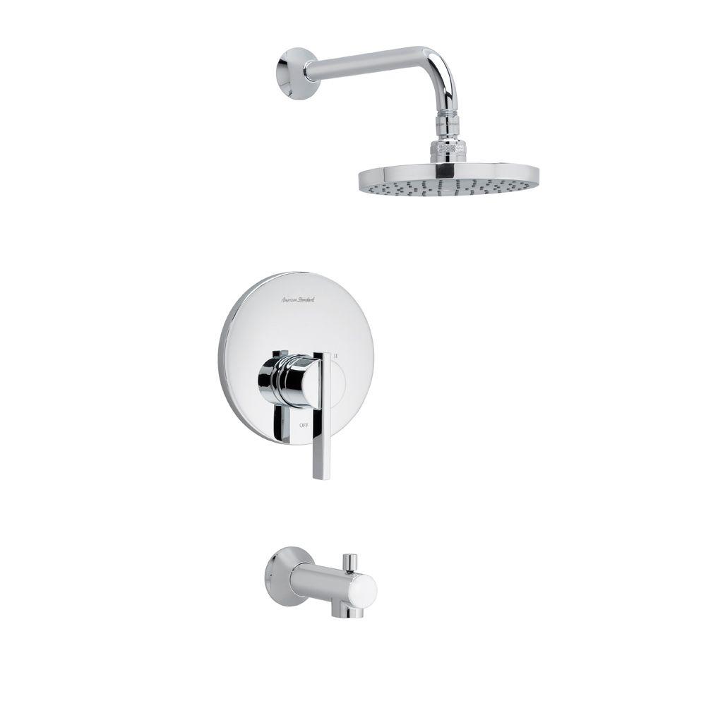 Berwick - Ensemble de garniture pour douche/baignoire, pomme de douche à effet pluie en chrome po...