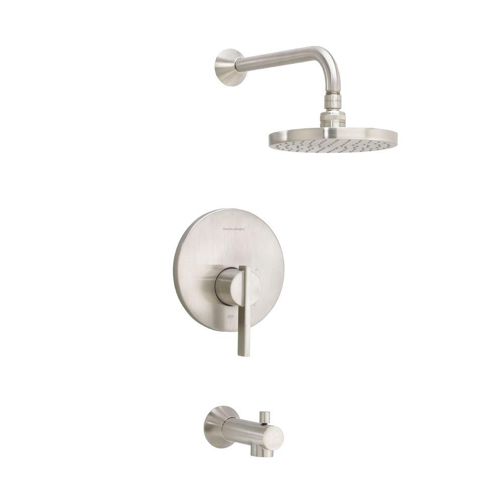 Berwick - Ensemble de garniture pour douche/baignoire, pomme de douche à effet pluie en nickel sa...