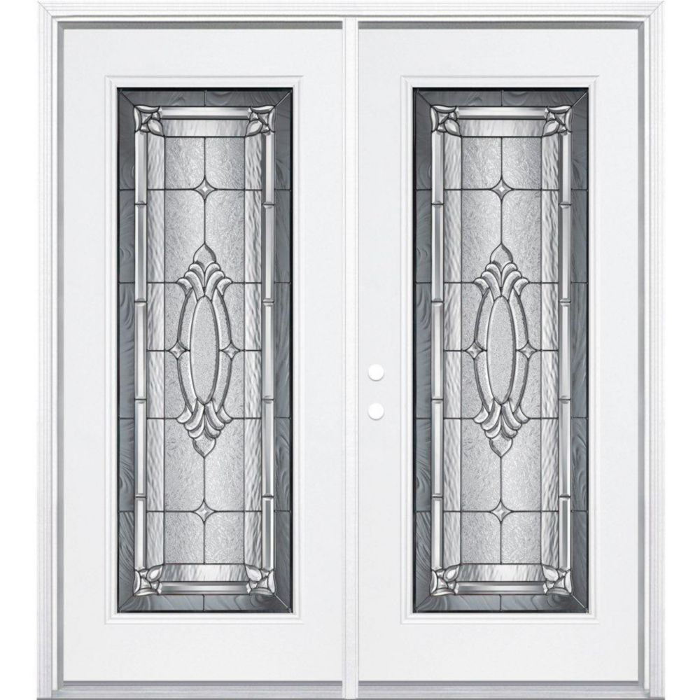 64-inch x 80-inch x 6 9/16-inch Antique Black Full Lite Right Hand Entry Door with Brickmould