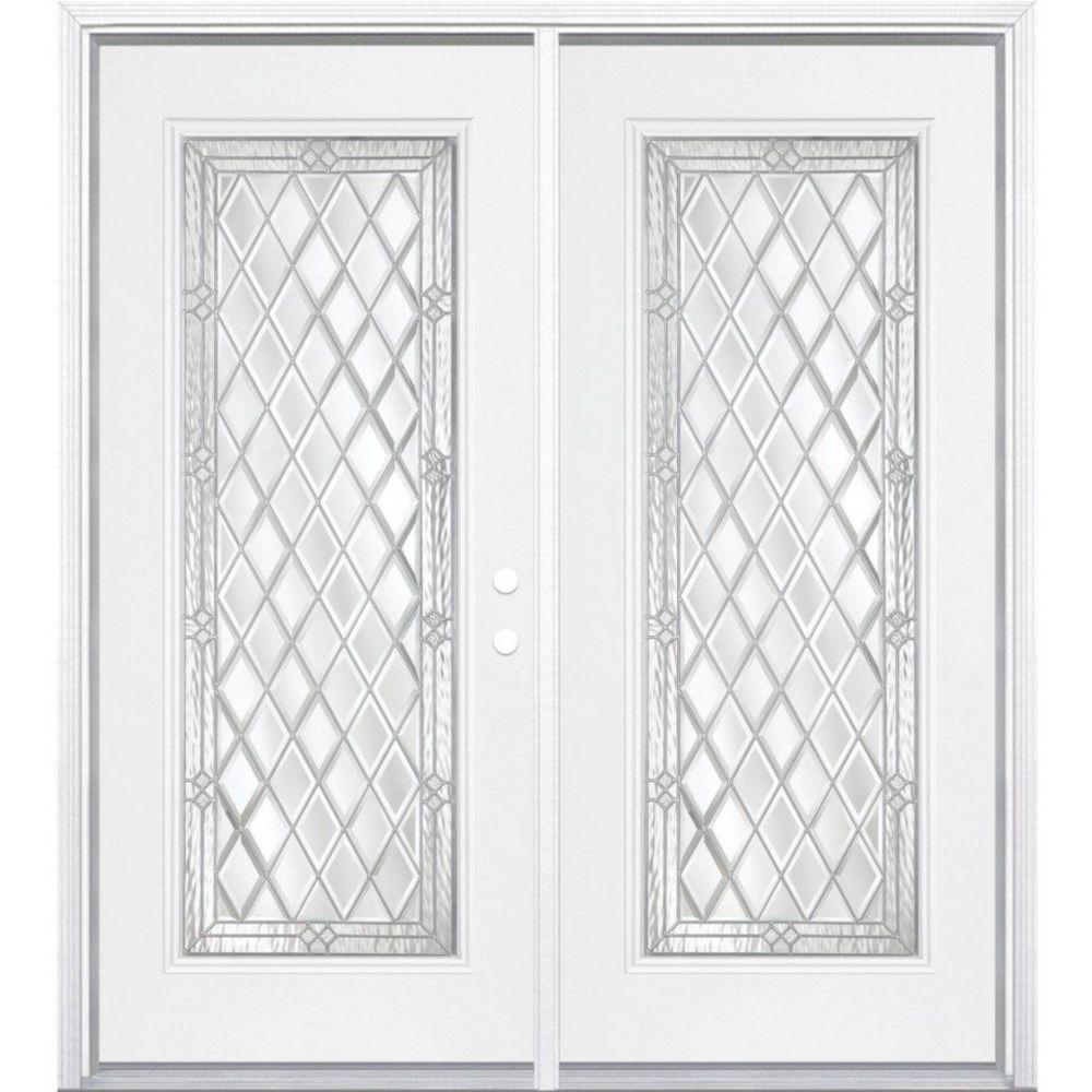 72-inch x 80-inch x 6 9/16-inch Halifax Nickel Full Lite Left Hand Entry Door with Brickmould
