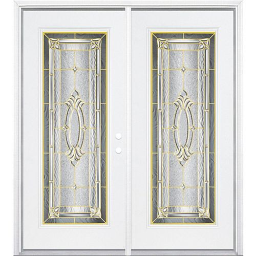 Masonite 64-inch x 80-inch x 6 9/16-inch Providence Brass Full Lite Left Hand Entry Door with Brickmould - ENERGY STAR®