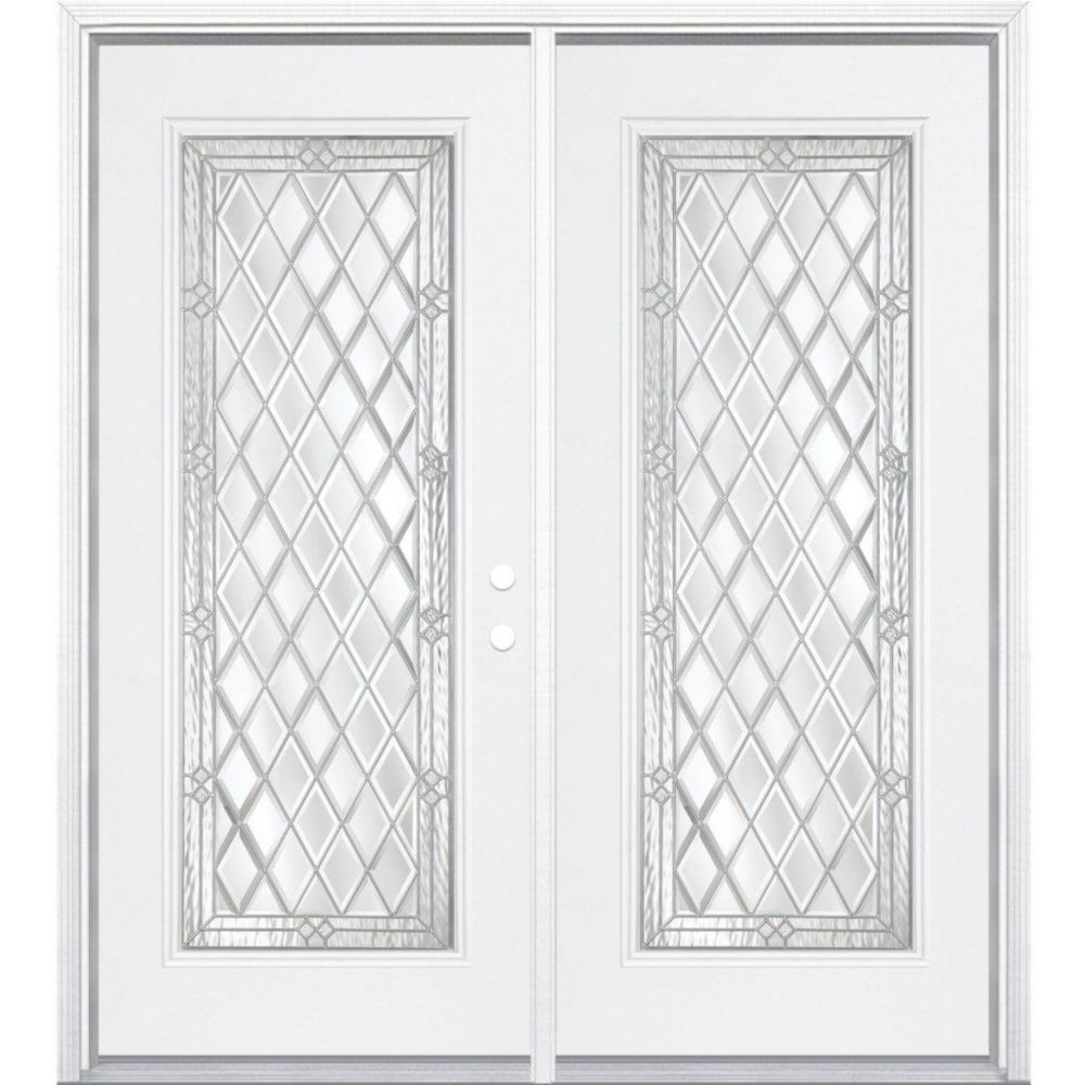 Masonite 72 Inch X 80 Inch X 4 9 16 Inch Halifax Nickel Full Lite Right Hand Entry Door Wi