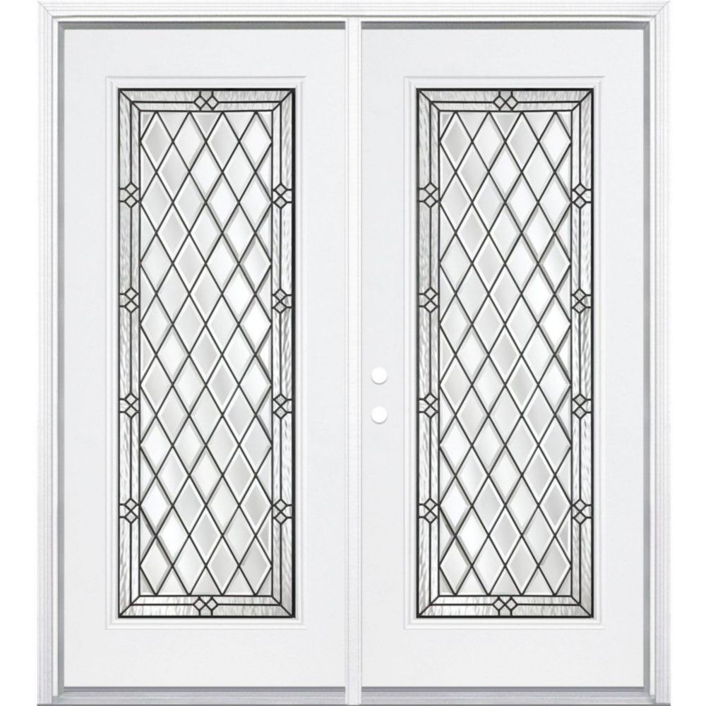 68-inch x 80-inch x 6 9/16-inch Halifax Antique Black Full Lite Right Hand Entry Door with Brickm...