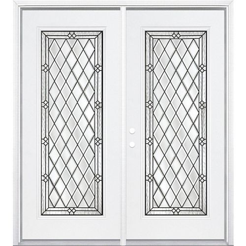 Masonite 68-inch x 80-inch x 6 9/16-inch Halifax Antique Black Full Lite Right Hand Entry Door with Brickmould - ENERGY STAR®