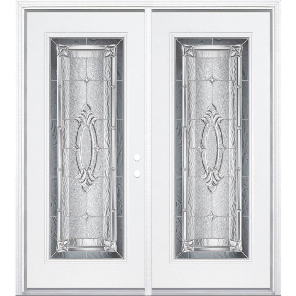 64-inch x 80-inch x 6 9/16-inch Providence Nickel Full Lite Left Hand Entry Door with Brickmould