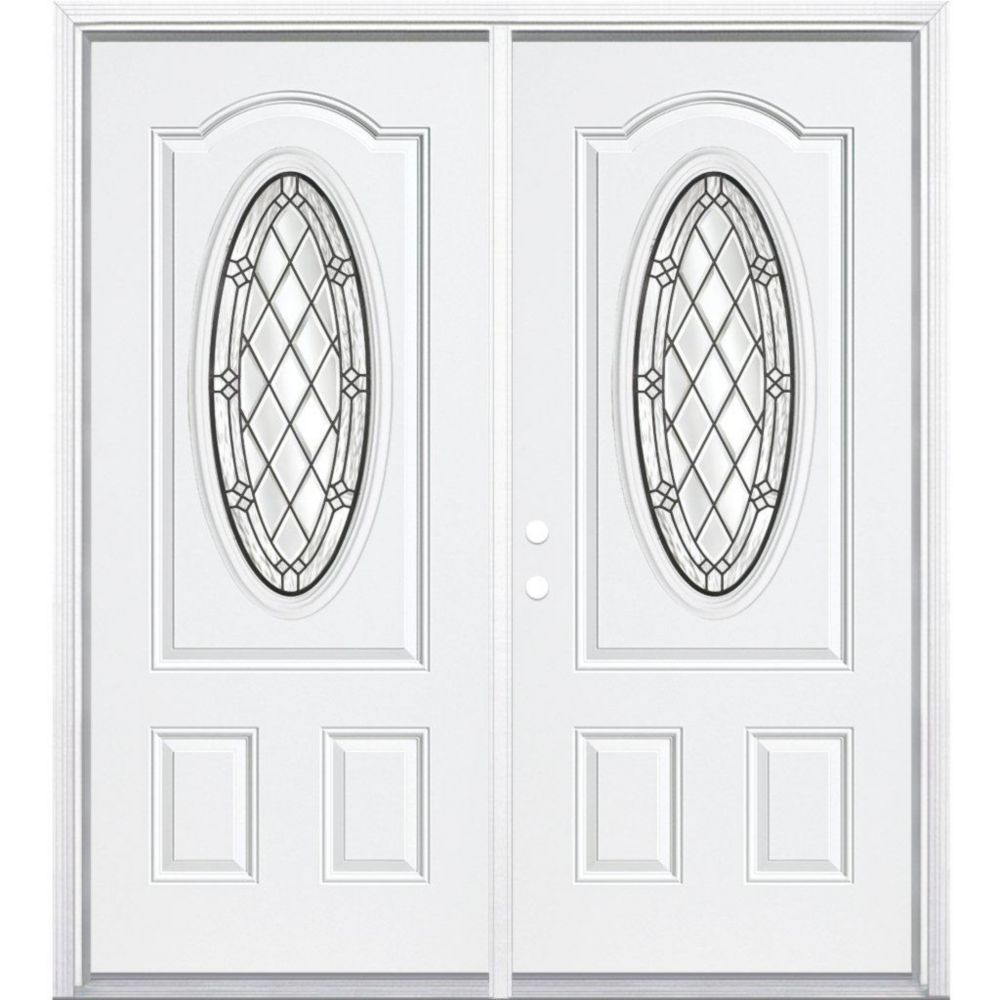 """68""""x80""""x6 9/16"""" Halifax Antique Black 3/4 Oval Lite Right Hand Entry Door with Brickmould"""