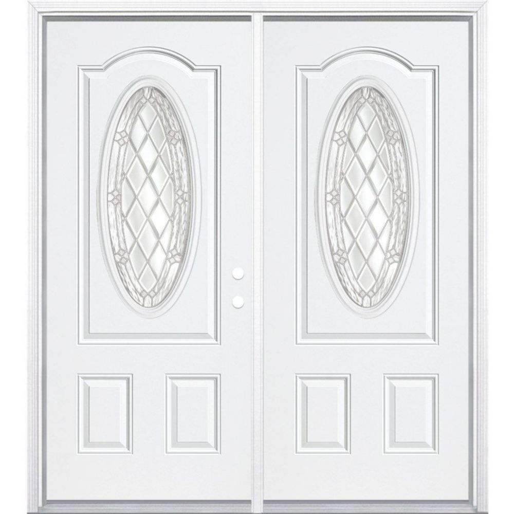 64-inch x 80-inch x 4 9/16-inch Nickel 3/4 Oval Lite Left Hand Entry Door with Brickmould
