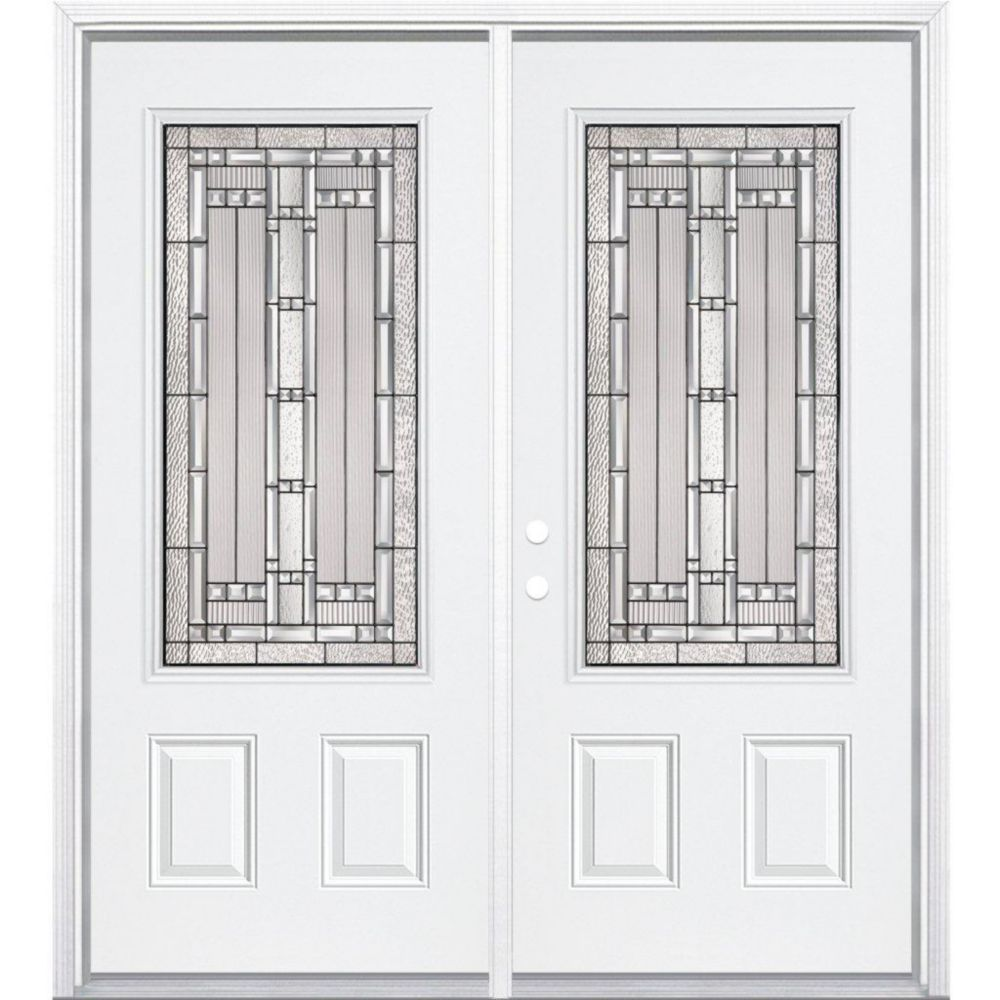 72-inch x 80-inch x 4 9/16-inch Antique Black 3/4-Lite Right Hand Entry Door with Brickmould