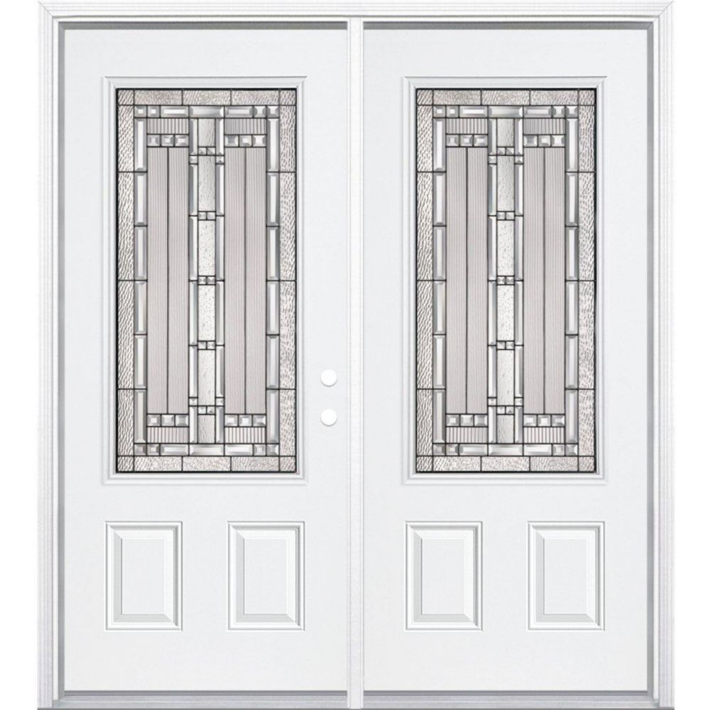 64-inch x 80-inch x 6 9/16-inch Antique Black 3/4-Lite Left Hand Entry Door with Brickmould
