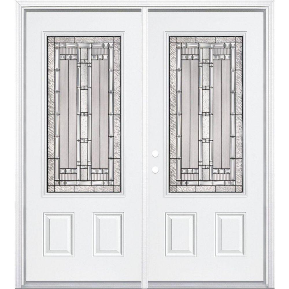 "64""x80""x6 9/16"" Elmhurst Antique Black 3/4 Lite Right Hand Entry Door with Brickmould"
