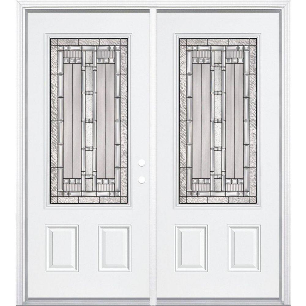 """68""""x80""""x 6 9/16"""" Elmhurst noir antique ver. 3/4 porte d'entrée moulure à brique m. gauche"""