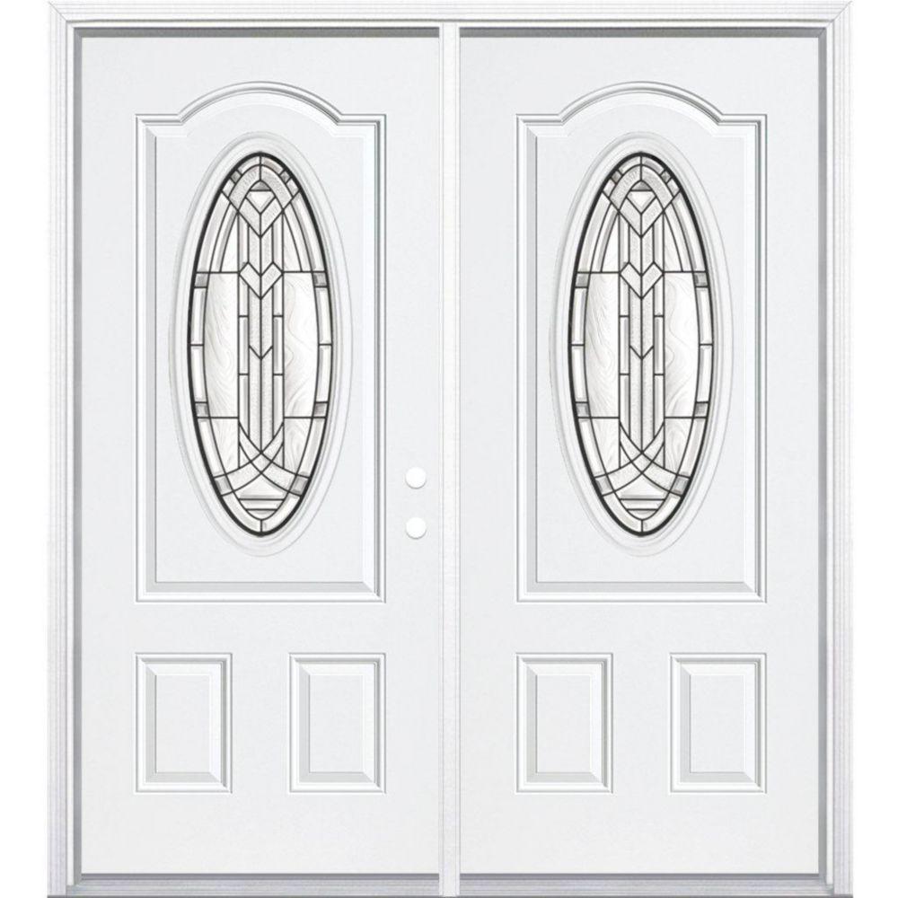"""68""""x80""""x4 9/16"""" Chatham noir antique ver. 3/4 oval porte d'entrée moulure à brique m. gauche"""