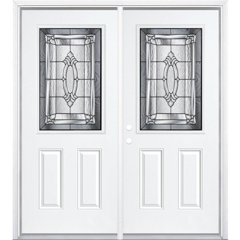 72-inch x 80-inch x 6 9/16-inch Antique Black 1/2-Lite Right Hand Entry Door with Brickmould