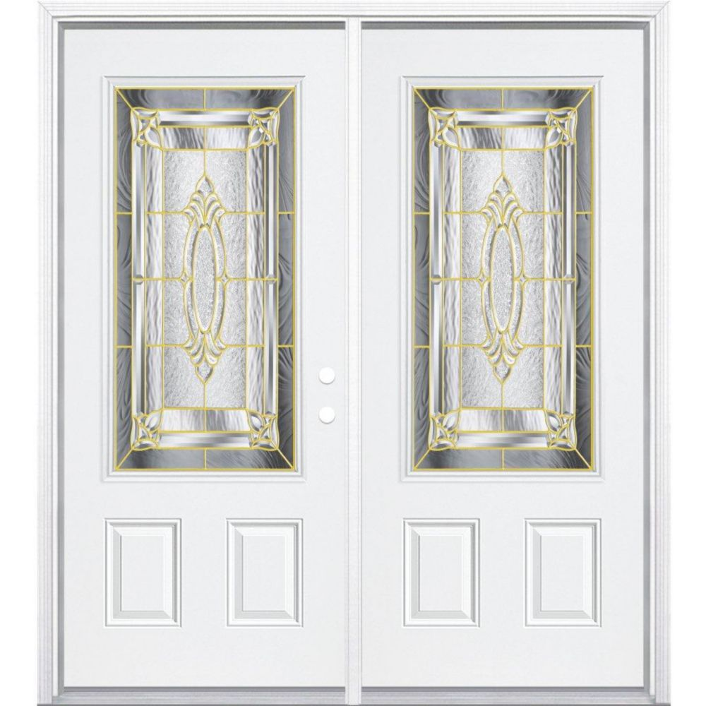 Masonite 72 Inch X 80 Inch X 4 9 16 Inch Brass 3 4 Lite Left Hand Entry Door With Brickmould