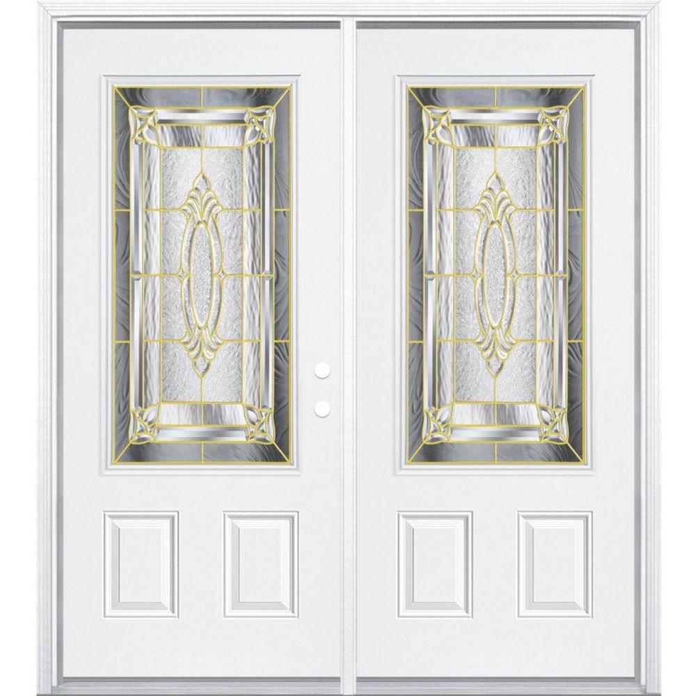 72-inch x 80-inch x 6 9/16-inch Brass 3/4-Lite Left Hand Entry Door with Brickmould