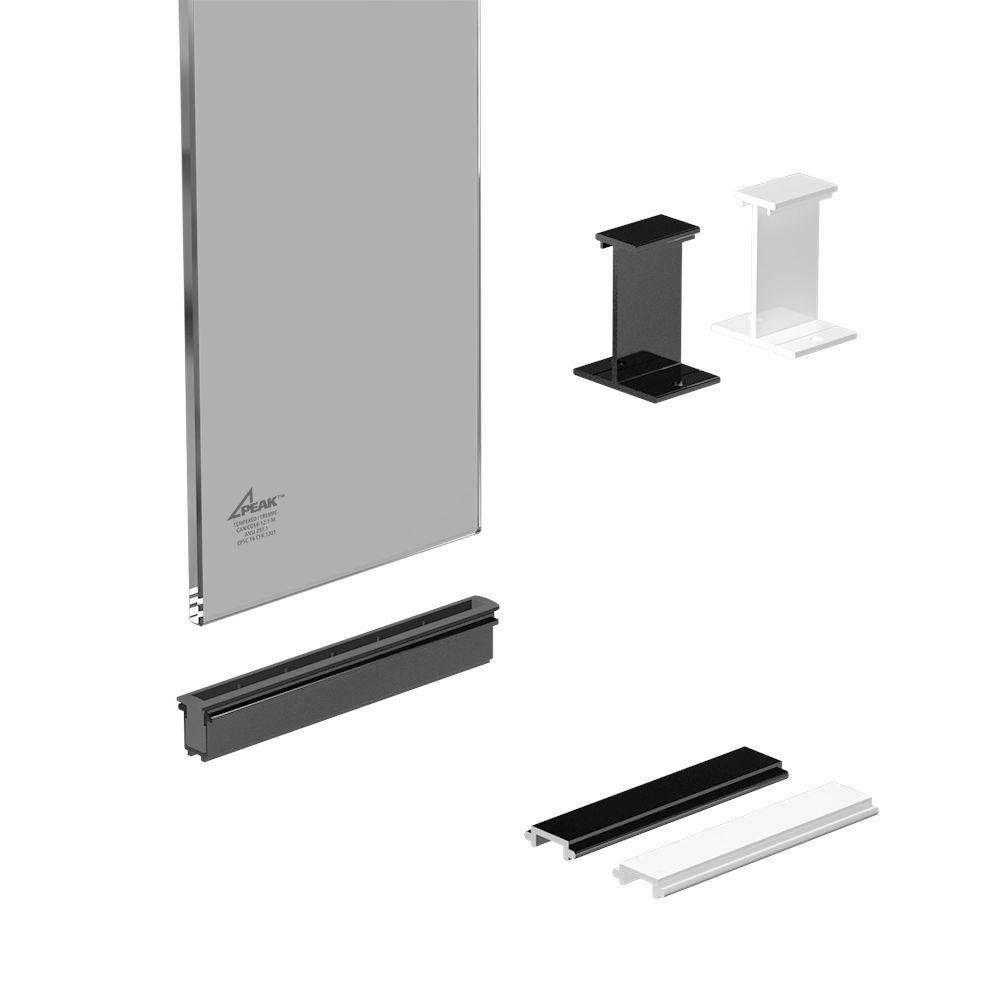Section de 6 po. panneaux de verre - Noir
