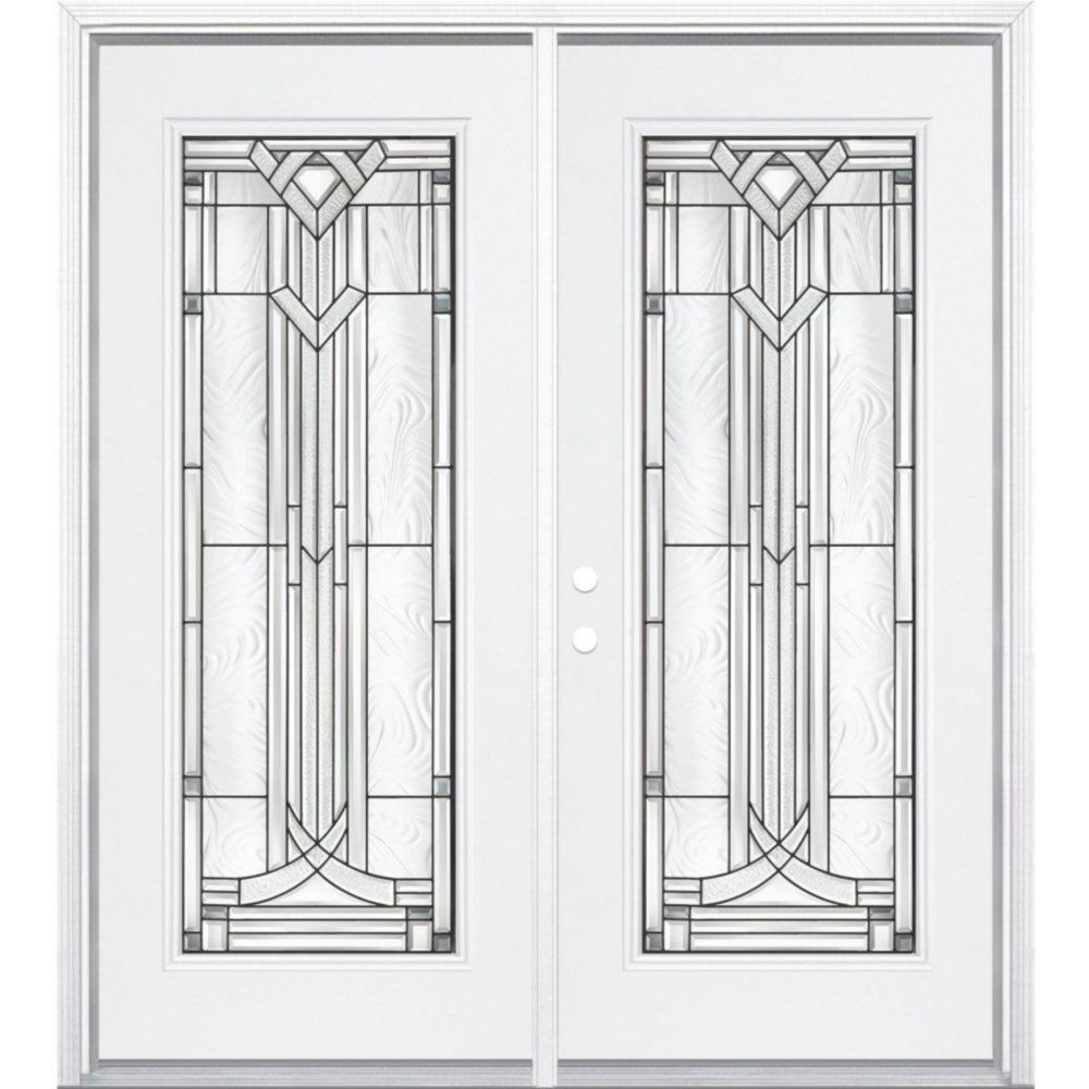 68-inch x 80-inch x 6 9/16-inch Antique Black Full Lite Right Hand Entry Door with Brickmould