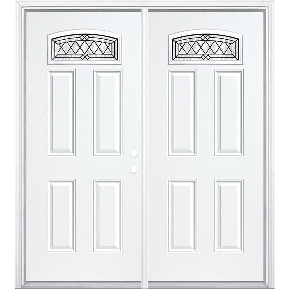 """64""""x80""""x6 9/16"""" Halifax noir antique d. lune cambré porte d'entrée moul. à brique m. gauche"""